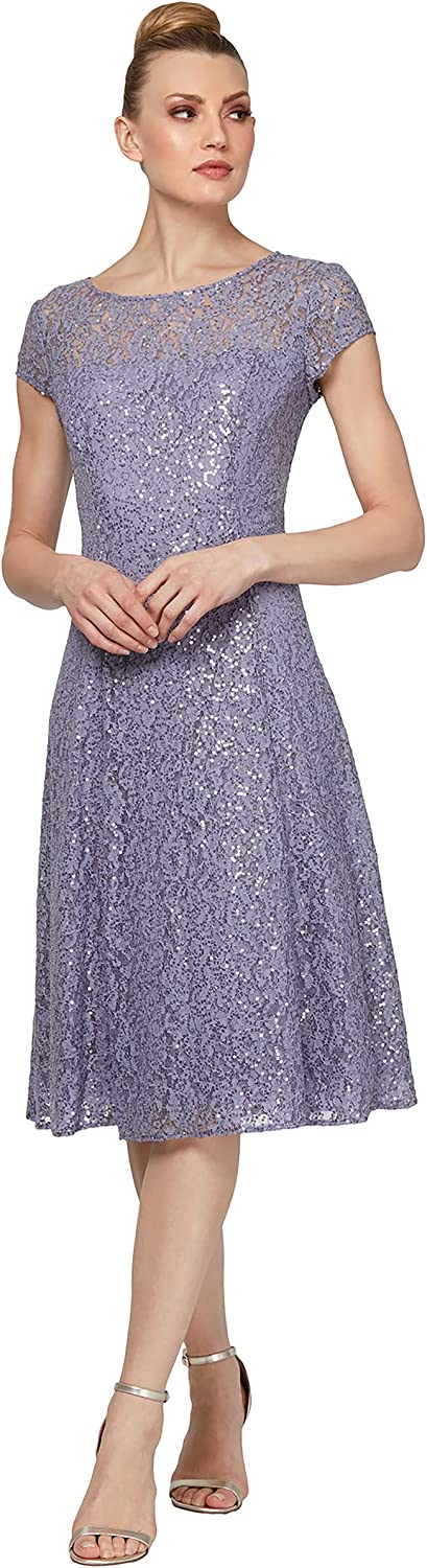 S.L. Fashions Women's Short Sleeve Tea Length Fit and Flare Dress (Petite Missy)