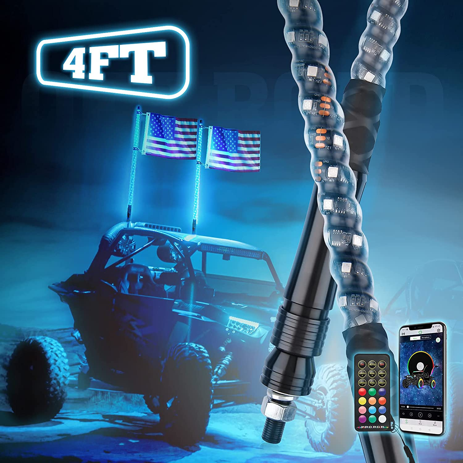 Kemimoto Limited Special Price LED Whip Lights for UTV Bluetooth Flag Virginia Beach Mall and USA ATV with