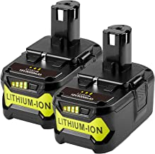 2Pack 18V 5000 mAh Rechargeable Battery for Ryobi ONE+ Tool P102 P103 P104 P105 P106 P107 P108 Power Tool with LED Charge ...