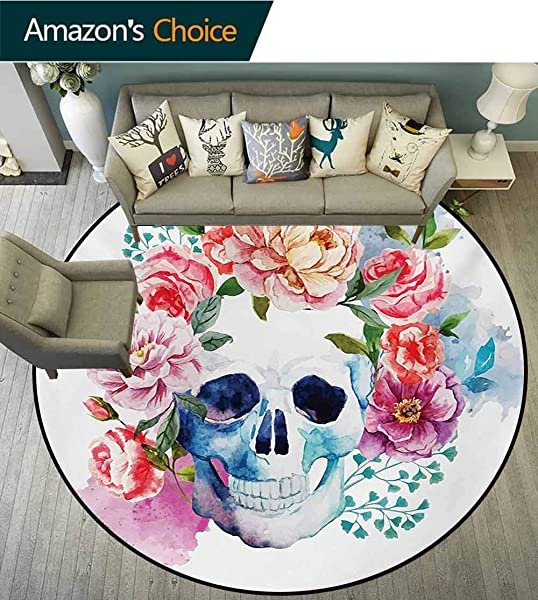 RUGSMAT Skull Modern Washable Round Bath Mat Funny Skull With Colorful Floral Head Victorian Style Dead Skeleton Graphic Art Print Non Slip Bathroom Soft Floor Mat Home Decor Diameter 35 Inch