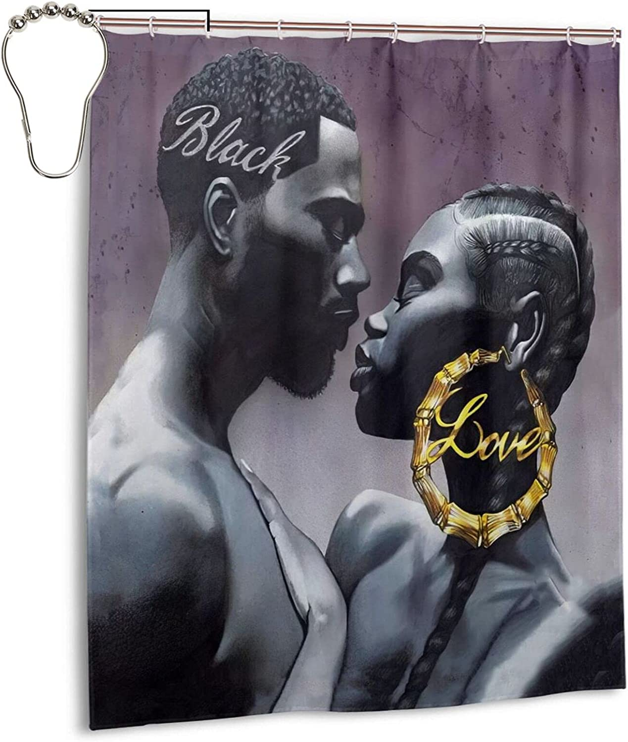 High order Drawpro Classic African American Lovers Soldering Se Curtain Couple Shower
