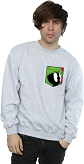Looney Tunes Men's Marvin The Martian Face Faux Pocket Sweatshirt