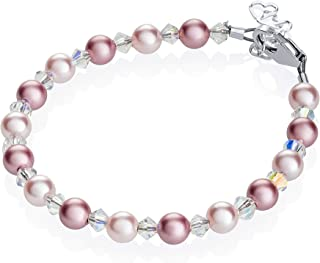 Crystal Dream Elegant Swarovski Pink and Rose Simulated Pearls White Crystals Baby Girl Gift Bracelet (BPLR_S), 0-9 MONTHS ( 4