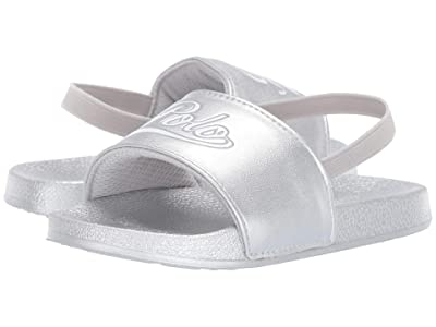 Polo Ralph Lauren Kids Yalesville (Toddler) (Silver Metallic/White/Light Grey Polo Script) Girl