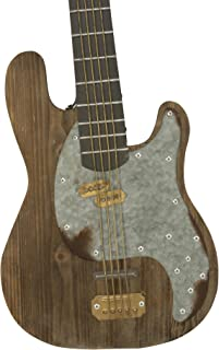 Rustic Inspired Decorative Electric Guitar Wall Art, Wood & Metal Wall Hanging Centerpiece Sculpture, 36