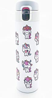 Unicorn Water Bottle Stainless Steel, Unicorn Figures Emoji Design for Kids Girls Teens Tweens Adults Cold Hot Leak-Proof Lock Lid No Straw Insulated Dishwasher Safe