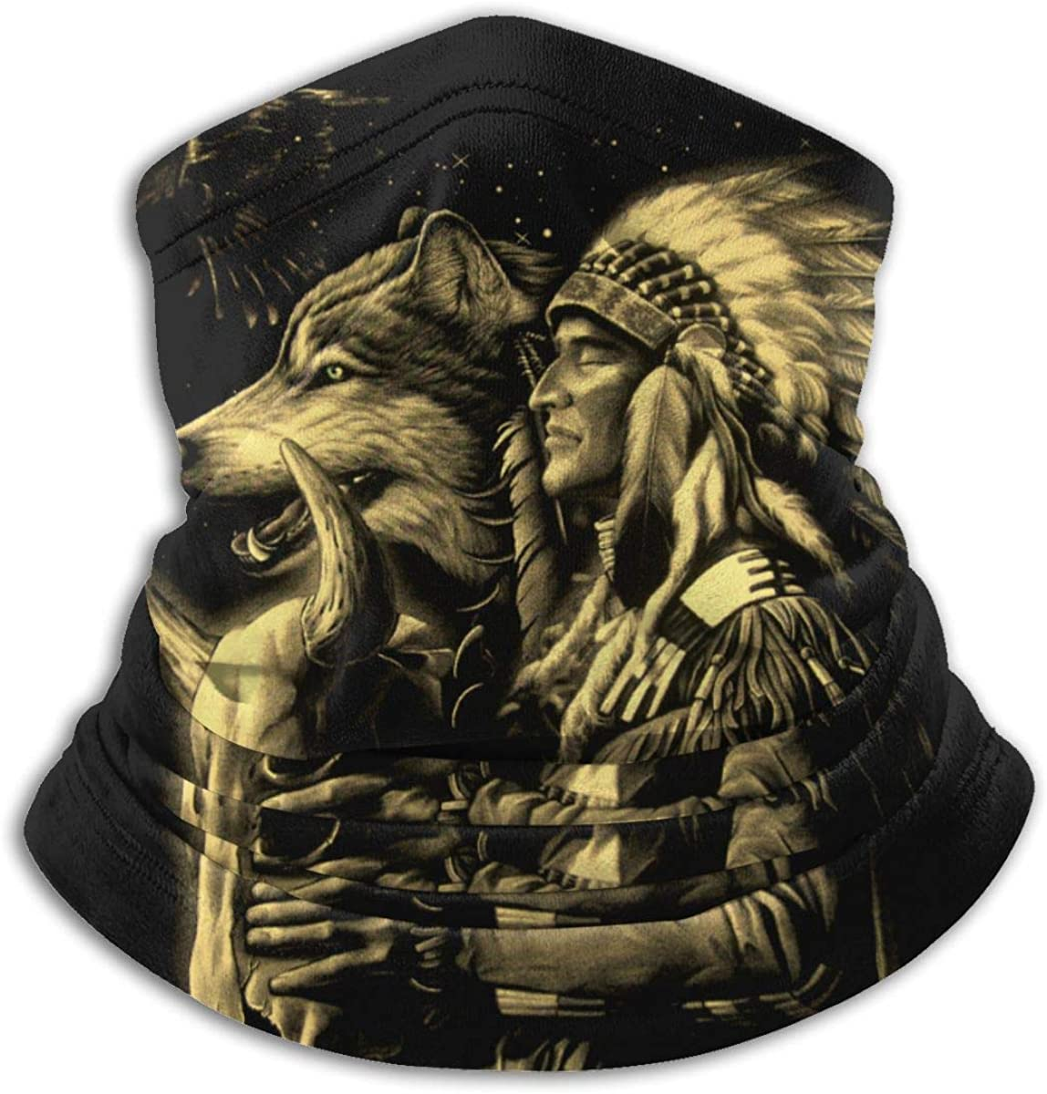 Native Americans Wolf Neck Gaiter Warmer Windproof Mask Dust Face Clothing UV Face Mask Balaclava Scarf for Ourdoor Sport Black