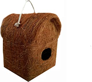 LIVEONCE Pure Nest Bird House Purely Handmade with Easy Hanging, Material Type -Coir, Color -Brown, Size (L 12 x W 12 X 20...