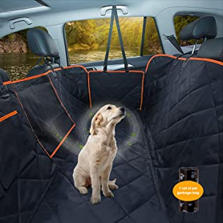 Dog Car Seat Cover, Waterproof Pet Seat Cover Protector with Mesh Visual Window & Seat Belt Opening & Storage Pockets, Wea...