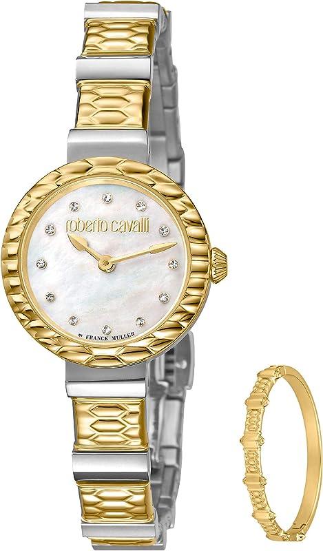 Roberto cavalli by franck muller, orologio per donna,dodici scintillanti diamanti circondano il quadrante RV2L023M0106