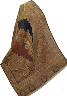 Exotic Design Black & Cinnamon Wool Jamawar Paisley Shawl Pashmina Hand Cutwork