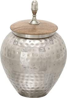 "Deco 79 37530 Amazing Metal Wood Jar, 8"" W x 12"" H"