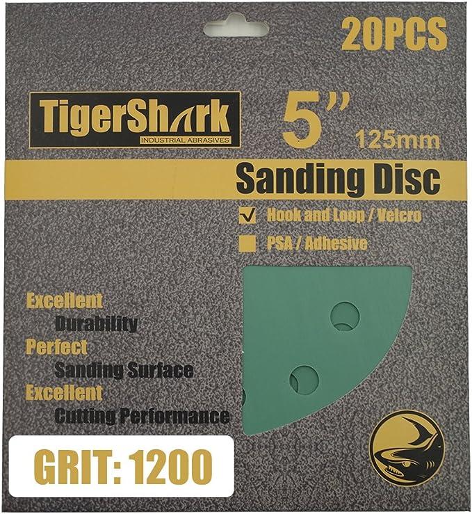 30x 5in 800-2000 Grit Hook Loop Pads Sanding Disc Orbital Sandpaper Sheet Sander