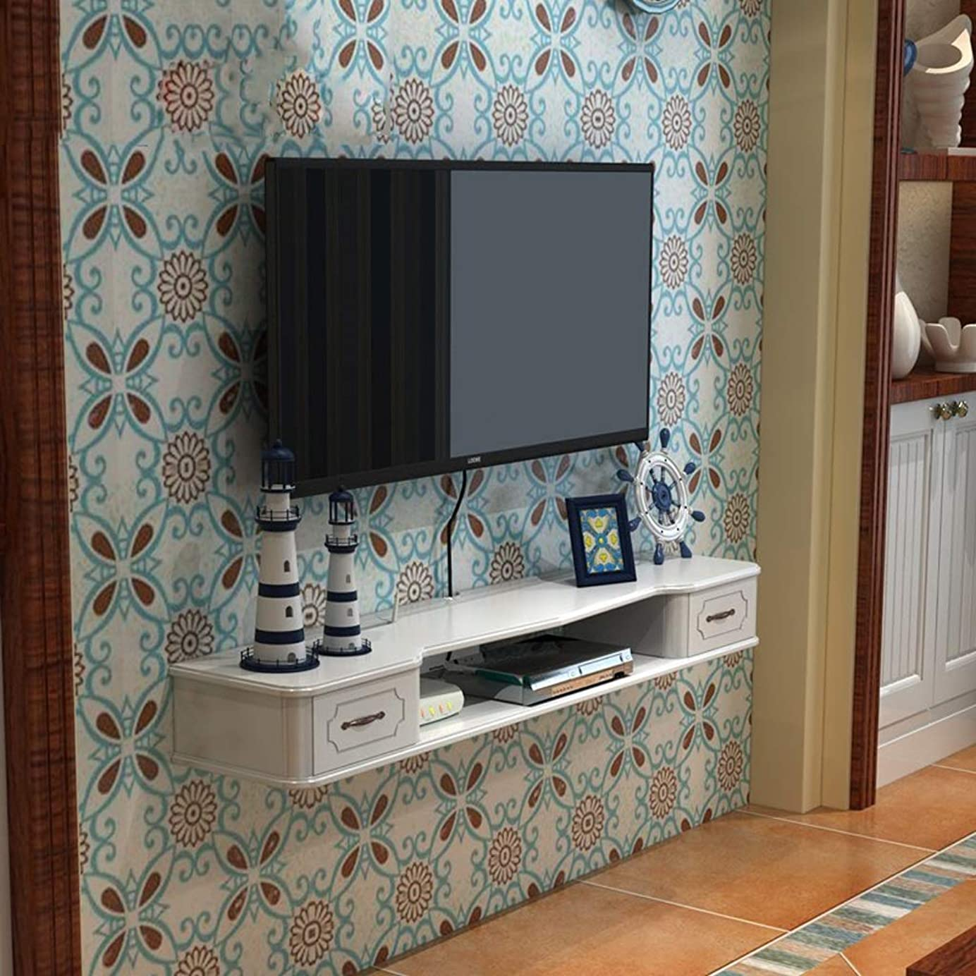 誤解させる強盗アラブサラボフローティングシェルフウォールシェルフ壁掛けテレビのキャビネットテレビの背景壁の装飾棚テレビコンソール引き出し付きマルチメディア収納棚