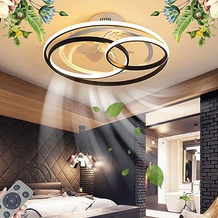 Plafonnier Ventilateur De Plafond Avec Éclairage LED Dimmable Ventilateur Au Plafond Avec Lampe Ultra Silencieux Fan Lumière Abat-Jour En Acrylique Fan Lumière Éclairage De Salon,53CM/50W