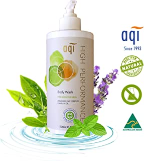 Sensitive Skin Body Wash 16.9 fl oz - For Dry & Itchy Skin - Hypoallergenic Eczema Natural Body Wash for Men & Women - Soap, Fragrance & Sulphate Free Vegan Shower Gel - Made in Australia By AQI