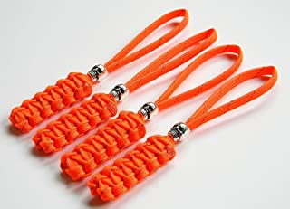 4 Reflective Orange Paracord Zipper Pulls or Knife Lanyards With Skull Alloy Bead