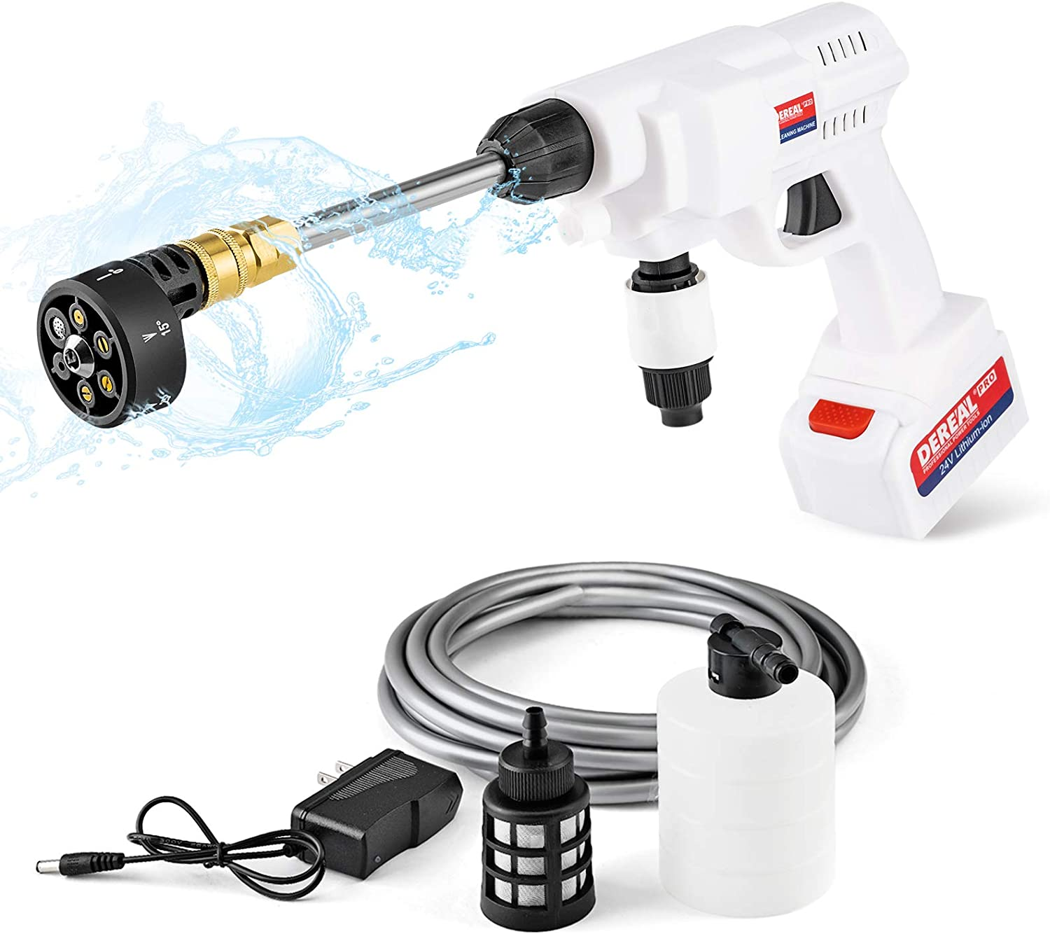 DEREAL Pro Pressure-Washer-Cleaner 24V Battery Fashionable Max 59% OFF Power-Portable Hi