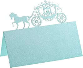 Pack of 60 Place Cards - Small Tent Cards with Laser Cut Carriage- Perfect for Weddings, Banquets, Events