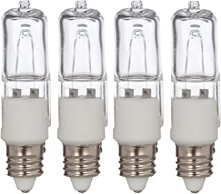 Simba Lighting Halogen E11 T4 100 Watt 1100lm 120 Volt Light Bulb (4 Pack) for Chandeliers, Pendants, Table Lamps, Cabinet Lighting, Mini-Candelabra Base, 100W JD 110V 120V Warm White 2700K Dimmable
