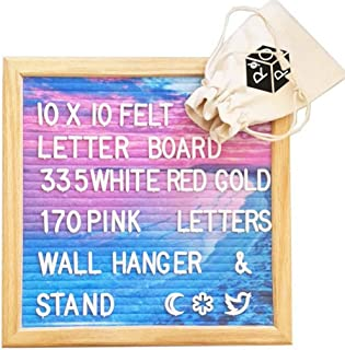Felt Letter Board with Stand and Background Image- Changeable Word Message Board Includes 505 3/4 Inch Letters; Image Felt Surface and 10x10 Inch Oak Wood Frame.