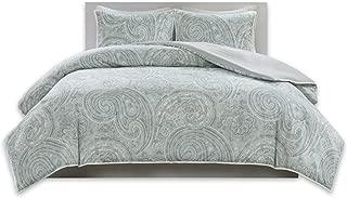 Comfort Spaces Kashmir 3 Piece Queen Duvet Cover Zipper Closure and Corner Ties Paisley Print Decor Ultra Soft Microfiber Luxury Bedding-Set, Blue/White