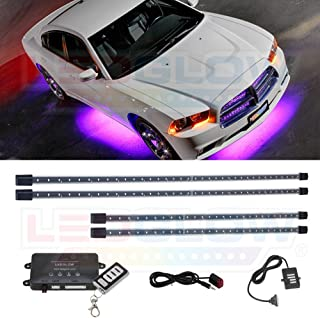 LEDGlow 4pc Purple LED Underbody Underglow Accent Lighting Kit for Cars - 12 Unique Patterns - Music Mode - Water Resistant Tubes - Includes Control Box & Wireless Remote