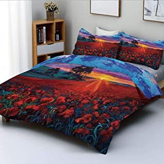 Duplex Print Duvet Cover Set King Size,Scenery of Poppy Flower Garden on Valley with Horizon and Fairy Clouds at Sunset PaintDecorative 3 Piece Bedding Set with 2 Pillow Sham,Multi,Best Gift for Kids