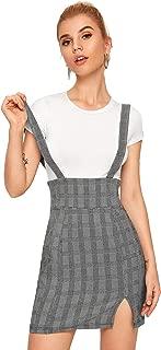 SheIn Women's Plaid Frill Ruffle Trim Suspender Skirt Pinafore Overall Dress