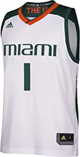 adidas Miami Hurricanes NCAA Men's March Madness White #1 Basketball Jersey