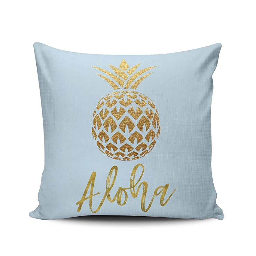 Fanaing Aloha Tropical Pineapple Blue and Gold Foil Pillowcase Home Sofa Decorative 18X18 inch Square Throw Pillow Case Decor Cushion Covers One-Side Printed
