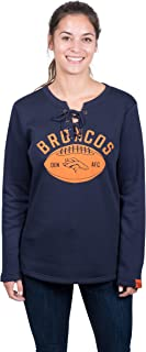 NFL Denver Broncos Women's Fleece Sweatshirt Lace Long Sleeve Shirt, Large, Navy