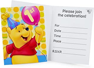 Winnie the Pooh Balloon 1st Birthday Invitations w/ Envelopes (8ct)
