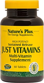 NaturesPlus Just Vitamins, Sustained Release - 60 Vegetarian Tablets - High Potency Multivitamin Supplement - No Minerals,...