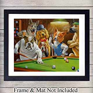 Hustler Dogs Playing Pool - Unframed Wall Art Print - Great Home Decor for Game Room or Man Cave - Awesome Gift For Animal Lovers - Ready to Frame (8X10) Photo