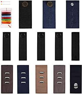 WXJ13 Pants Waist Eextender Elastic Waistband Extenders Set, 3 Types for Dress Pants, Jeans and Skirts with 1 Piece DIY Sewing Kit, 13 Pieces