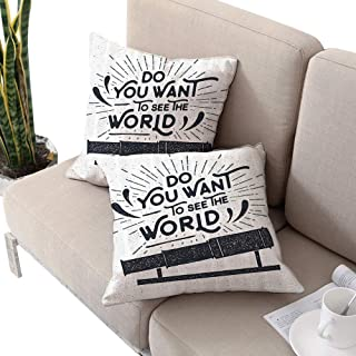 Modern Square chaise lounge cushion cover ,Do You Want to See the World Typography with Telescope Icon Grunge Illustration Dark Blue White W16
