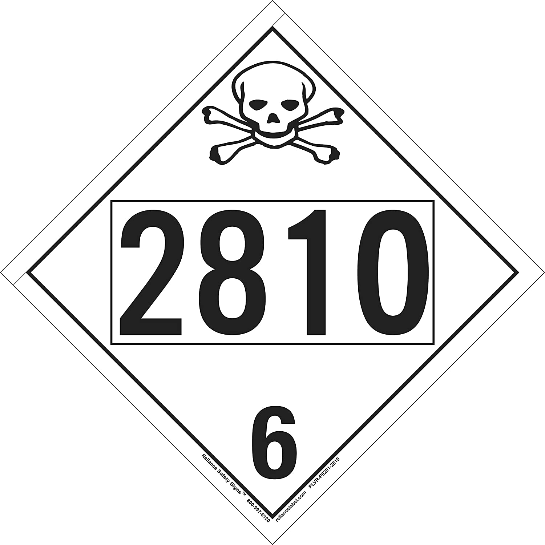 Reliance Label Solutions UN Import 2810 Class 4-Digit Poison Placard Sales for sale 6