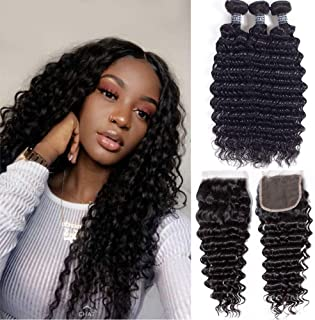 Amella Hair Brazilian Deep Wave 3 Bundles With Closure Human Hair Extensions Virght Hair Natural Black Color Can Be Dyed a...