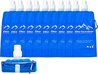 Best Collapsible Water Bottle BPA Free (10-Pack) For Gym, Sports, Teams, Hiking, Camping, Biking, Outdoors, Beach, Traveli...