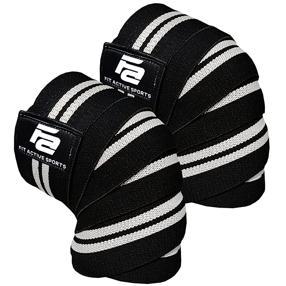 Fit Active Sports Knee Wraps for Weightlifting, Powerlifting, Gym Workout, Cross Training, Knee Straps for Heavy Squats - for Men & Women - 72