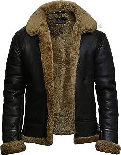 Mens Aviator Flying Genuine Shearling Sheepskin Leather Bomber Jacket