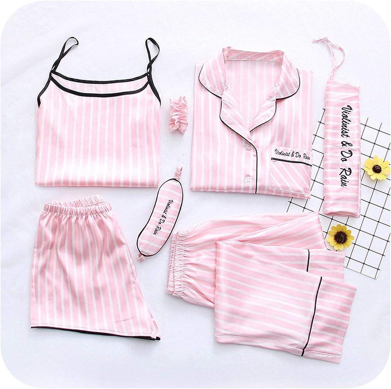 7 Pieces Pyjama Set Women Spring Sexy Pajamas Sets for Sleepwear Clothes Home Suits Pijamas