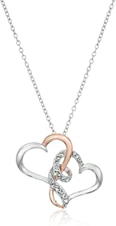 Sterling Silver Two Tone Double Heart Pendant Necklace Made with Swarovski Crystal (18