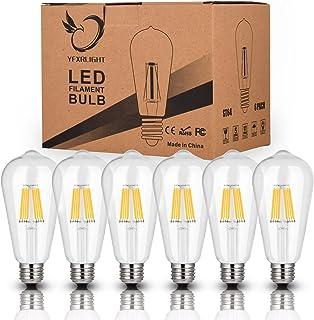 Antique LED Bulbs Soft Warm White 2700K, 6W ST64 Dimmable Vintage Edison LED Bulbs,