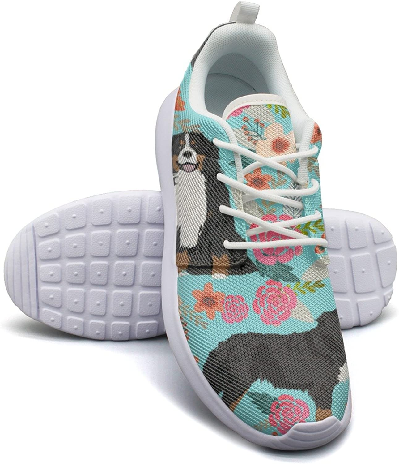 Gjsonmv Bernese Pet Dog Floral mesh Lightweight shoes for Women Fashion Sports Badminton Sneakers shoes