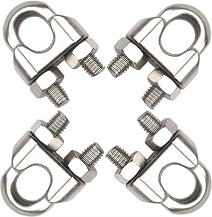 """Penta Angel 3/8"""" M10 Stainless Steel Wire Rope Cable Clip Clamp, 4PCS"""
