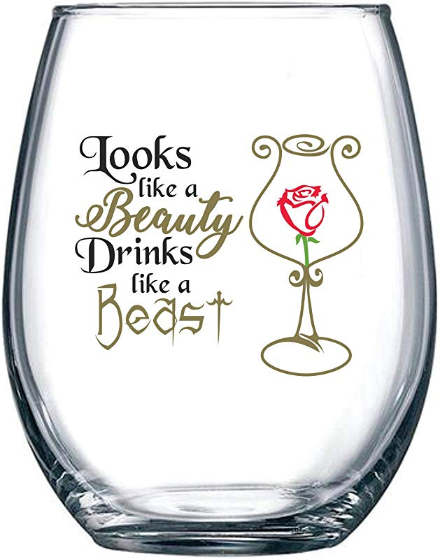 Looks Like A Beauty Drinks Like A Beast Funny Disney Princess Wine Glass Perfect Girlfriend Birthday Gifts Best Friend Gift For Women Belle Rose Movie Themed 15 Oz Stemless Wine Glass