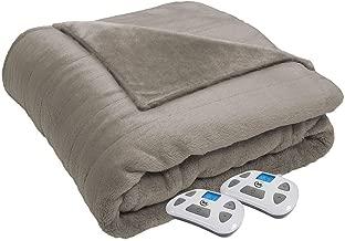 Serta 874492 Silky Plush Electric Heated Warming Blanket Queen Sand Washable Auto Shut Off 10 Heat Settings