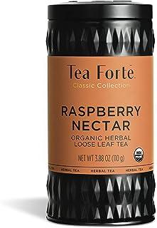 Tea Forte Organic Herbal Tea, Makes 35-50 Cups, 3.88 Ounce Loose Leaf Tea Canister, Raspberry Nectar